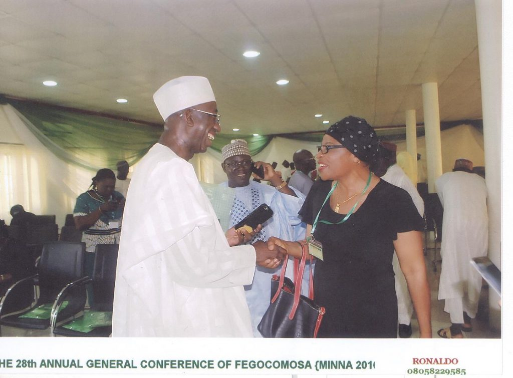 28th Annual General Conference of FEGOCOMOSA (Minna, 2016): Honourable Abdulrahman Shuaibu Abubakar of the Federal House of Representatives with his FGC schoolmate, Cesnabmihilo Dorothy Aken'Ova.