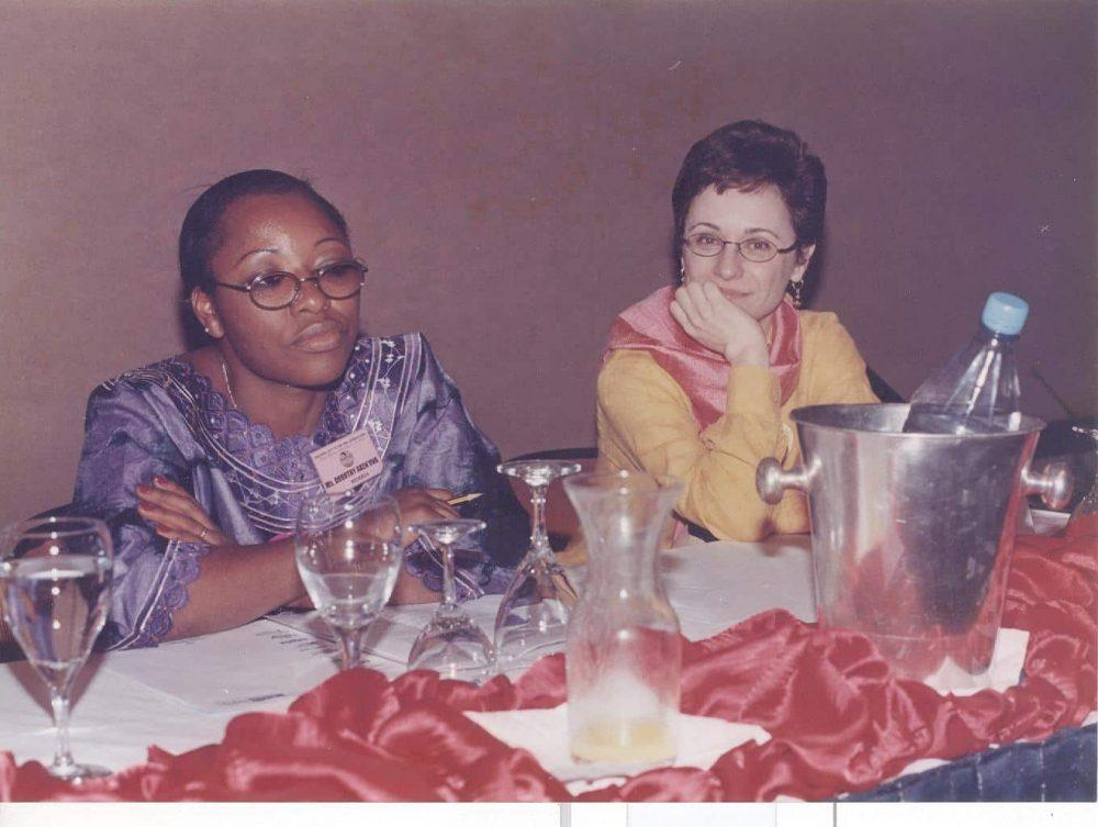 Cesnabmihilo Dorothy Aken'Ova and Françoise Girard, the Current President of the International Women's Health Coalition (IWHC) at an AMANITARE event; Sheraton Hotel, Abuja, Nigeria; in the Year 2000.