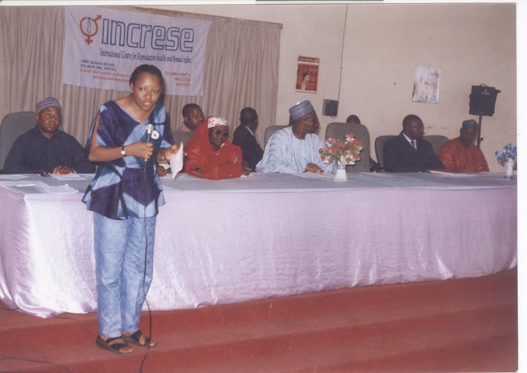 Circa 2000s, a Seminar on Comprehensive Sexuality Education featuring School Principals, State Commissioners, Cesnabmihilo Dorothy Aken'Ova, and then Deputy Governor of Niger State, Dr Shem Zagbayi Nuhu (in the middle) attending in his official capacity.