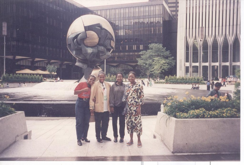 World Trade Centre, 1998: (Left to Right) Christie Olejemeh, Josephine Effah-Chukwuma, Tolulope Lewis-Tamoka and Cesnabmihilo Dorothy Aken'Ova after presenting the Shadow Report.